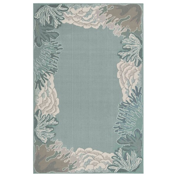 Ricki Reef Border Blue Indoor/Outdoor Area Rug by Highland Dunes