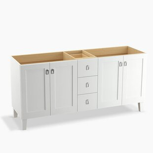 Buying Poplin 72 Vanity Base Only with Furniture Legs, 4 Doors and 3 Drawers, Split Top Drawer By Kohler