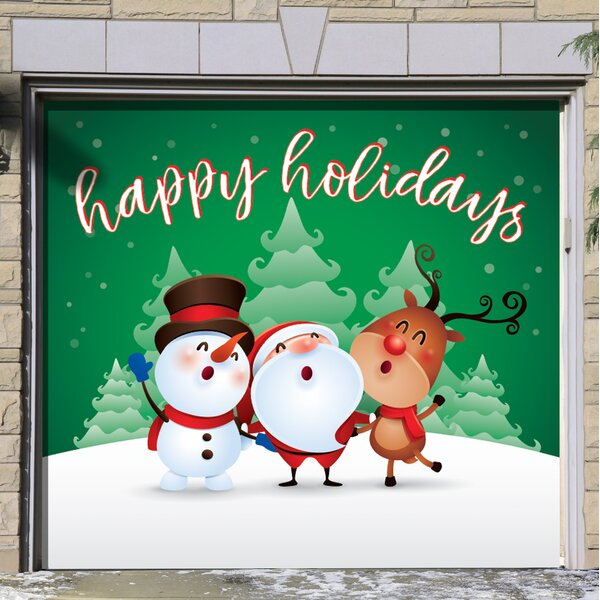 Characters Happy Holidays Winter Garage Door Mural by The Holiday Aisle