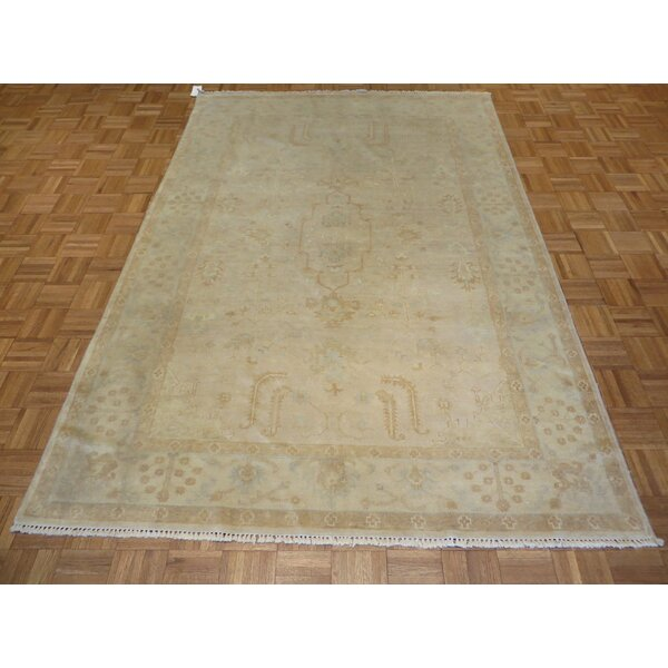 One-of-a-Kind Josephson Washed Out Turkish Oushak Hand-Knotted Wool Biege Area Rug by Canora Grey