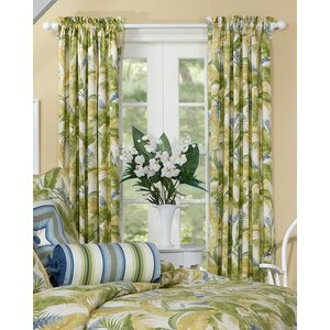 Cayman Nature/Floral Semi-Sheer Rod Pocket Curtain Panels (Set of 2)