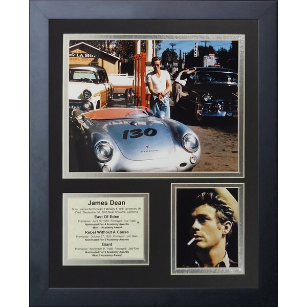 James Dean Porsche Framed Photographic Print by Legends Never Die