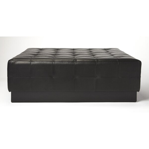 Doris Leather Tufted Cocktail Ottoman by Canora Grey