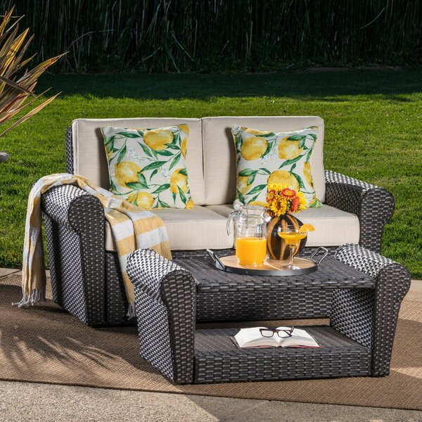 Hong 2 Piece Rattan Conversation Set with Cushions by Charlton Home