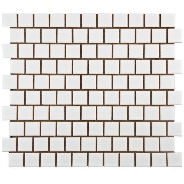 Retro Square Offset 1 x 1 Porcelain Mosaic Tile in Matte by EliteTile