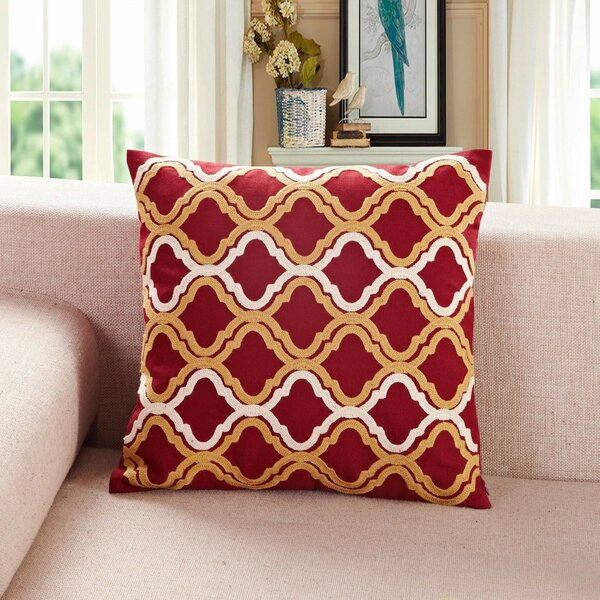 Embroidered Quatrefoil Throw Pillow  by Calla Angel