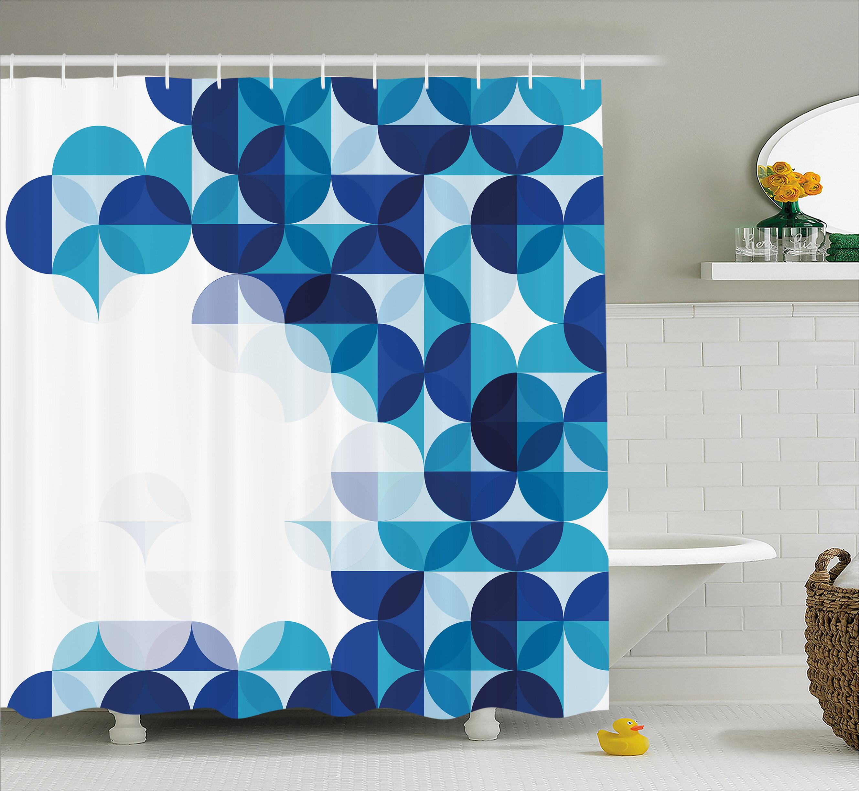 Ebern Designs Grafton Modern White Circles Shower Curtain ...