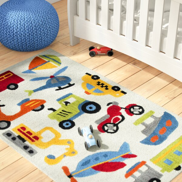 Ashlee Hand-Tufted Red/Green Kids Rug by Zoomie Kids