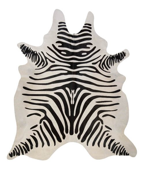 Stenciled Brazilian Cowhide Zebra Black/Off-White Area Rug by Pergamino
