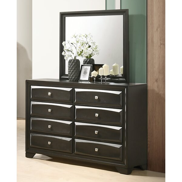 Beagan Wood 8 Drawer Double Dresser with Mirror by Winston Porter