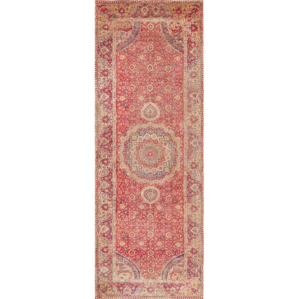 One-of-a-Kind 17th Century Hand-Knotted Red 9' x 24'8 Runner Wool Area Rug