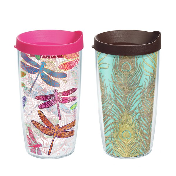 Dragonfly Mandala and Glittery Peacock Gift 2 Piece 16 oz. Plastic Travel Tumbler Set by Tervis Tumbler
