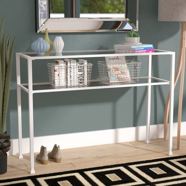 Casas Metal/Glass Console Table by Orren Ellis