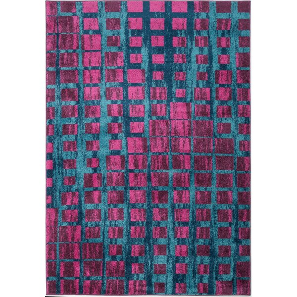 Nehemiah Square Turquoise/Pink Area Rug by Ebern Designs
