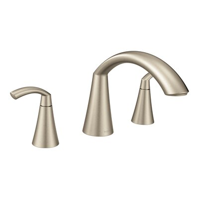 Moen Tub Faucet Deck Mount Double Handle Brushed Nickel Faucets