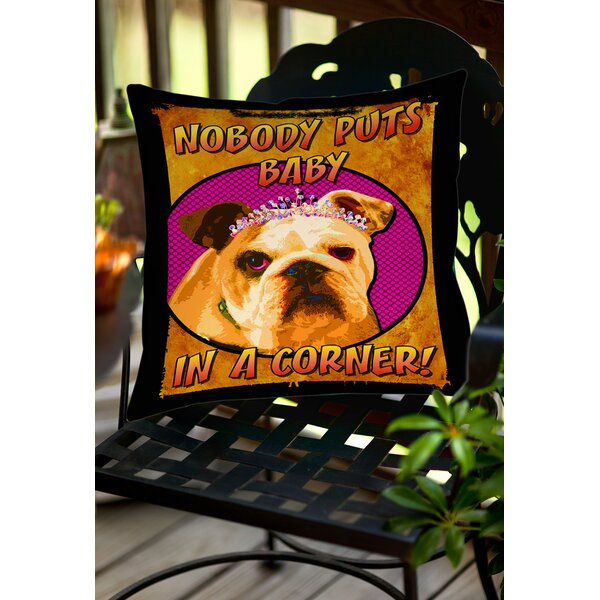 Sassys Dog Baby Indoor/Outdoor Throw Pillow by Manual Woodworkers & Weavers