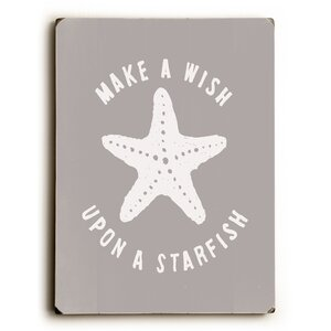 'Make a Wish Starfish' Graphic Art Print on Wood by Highland Dunes