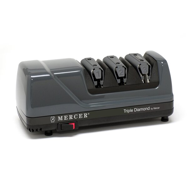 Triple 3 Stage Diamond Coated Stainless Steel Electric Knife Sharpener by Mercer Cutlery