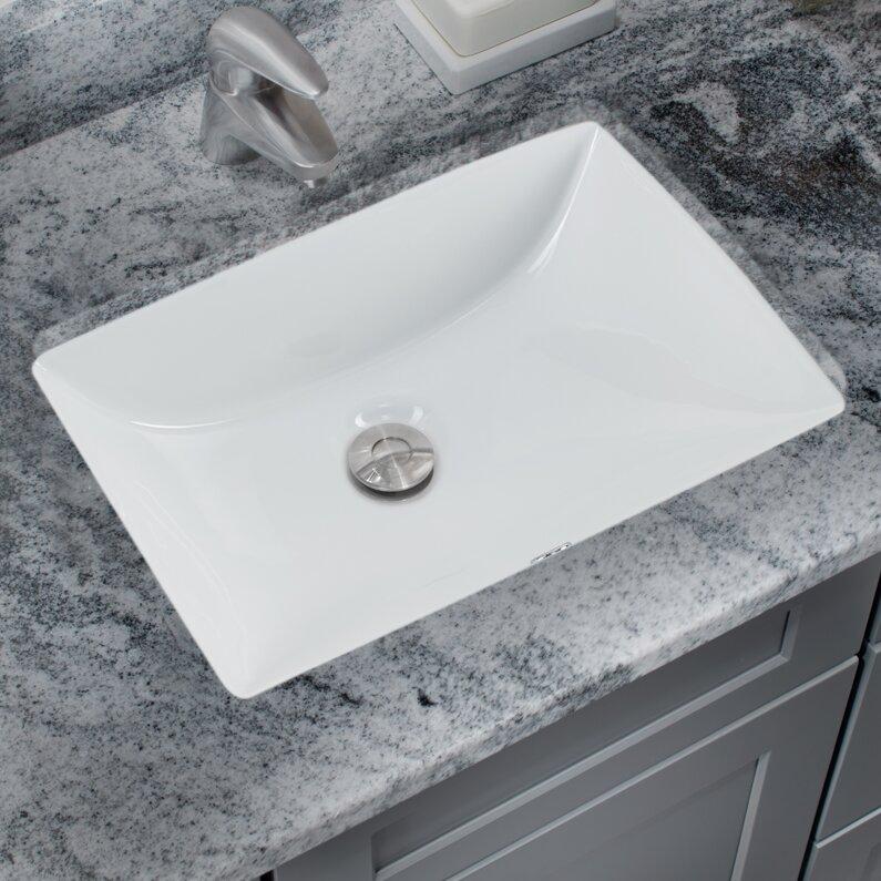 Soleil Glazed Vitreous China Rectangular Undermount Bathroom Sink ...