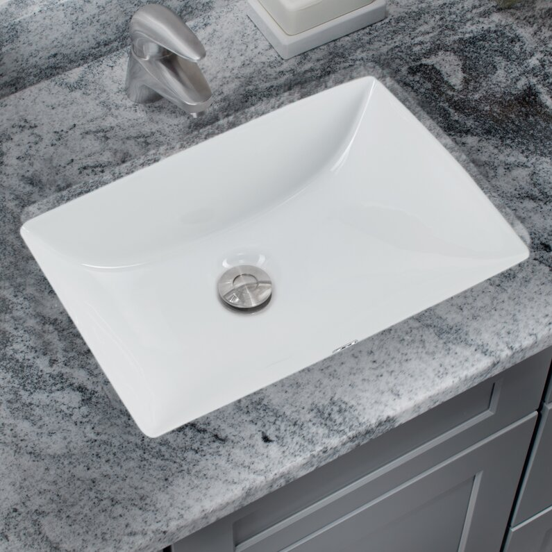 Soleil Glazed Vitreous Rectangular Undermount Bathroom Sink With