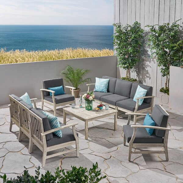 Gianni Outdoor 9 Piece Sofa Seating Group with Cushions by Foundry Select