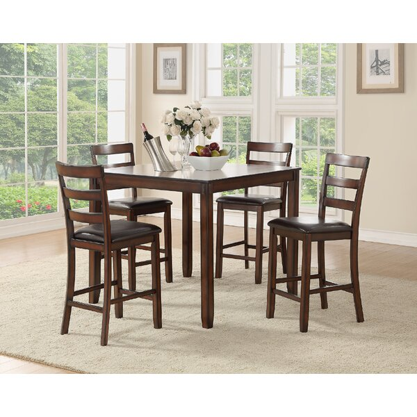 Climsland 5 Piece Counter Height Solid Wood Dining Set by Charlton Home