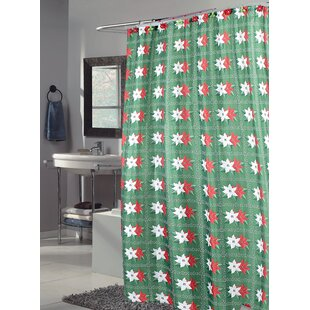 Bargain Poinsettia  Holiday Shower Curtain By Carnation Home Fashions
