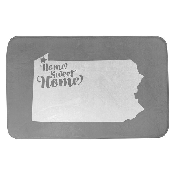 Home Sweet Erie Rectangle Non-Slip Does Not Apply Bath Rug