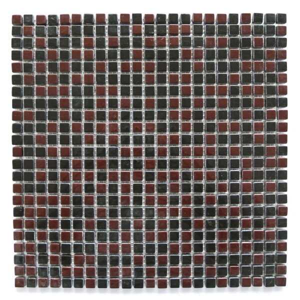 Full Body 0.5 x 0.5 Glass Mosaic Tile in Maroon/Black by Abolos