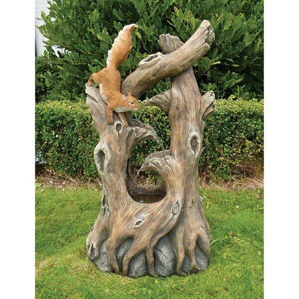 Tree Squirrel Cascading Sculptural Fountain with LED Light by Wildon Home ®