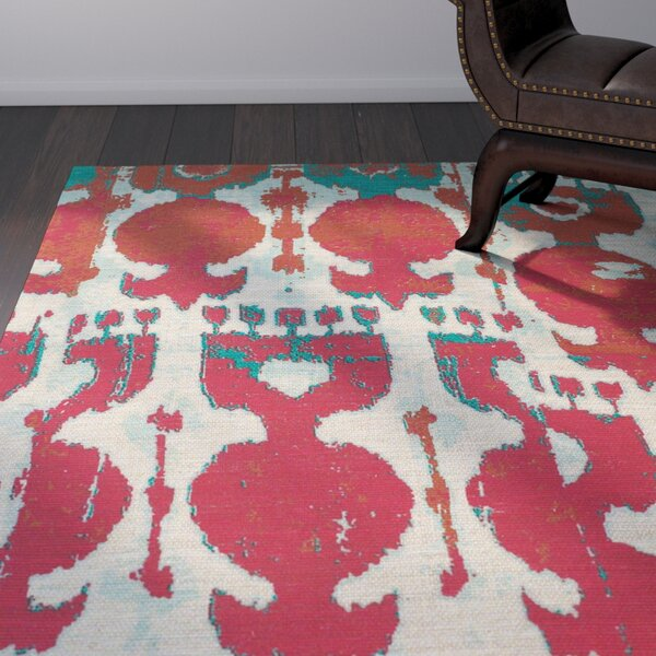 Abram Hand-Loomed Red/Teal Area Rug by World Menagerie
