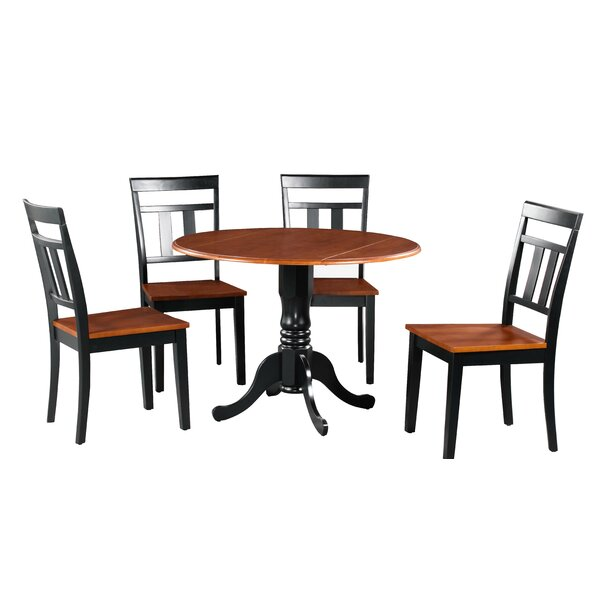 Showers 5 Piece Drop Leaf Solid Wood Dining Set by August Grove