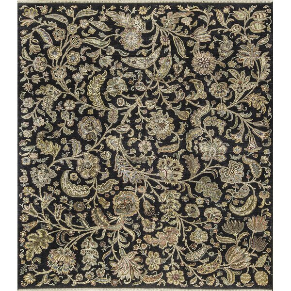 One-of-a-Kind Hand-Knotted Black/Ivory Indoor Area Rug by Bokara Rug Co., Inc.
