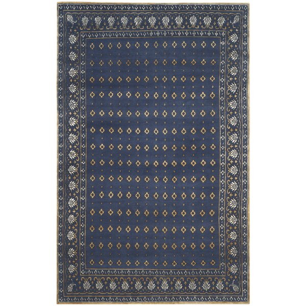 Berta Hand-Knotted Indigo/Beige Area Rug by Bungalow Rose