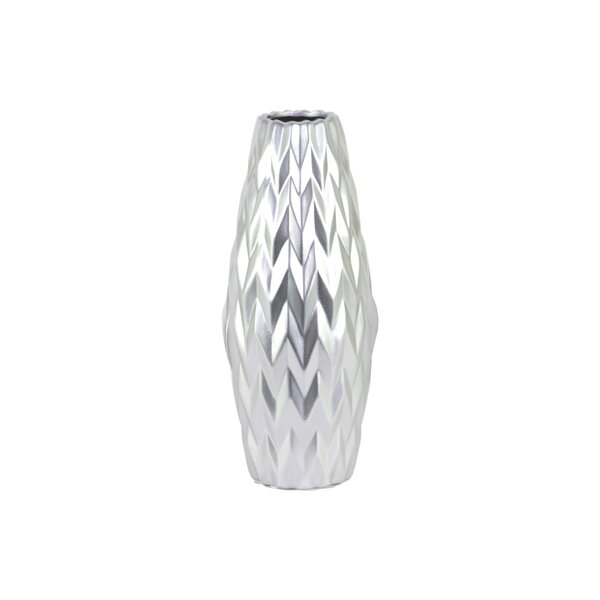 Fong Embossed Wave Design Ceramic Table Vase by Wrought Studio