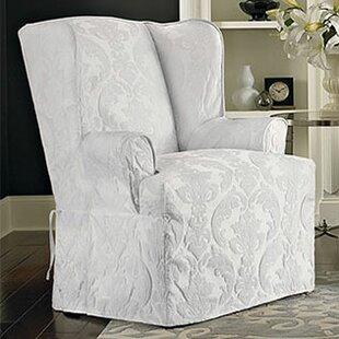 Matelasse Damask T Cushion Wingback Slipcover