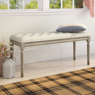 Bullen French Upholstered Bench Ophelia & Co. Upholstery: Beige, Color: Natural Wood