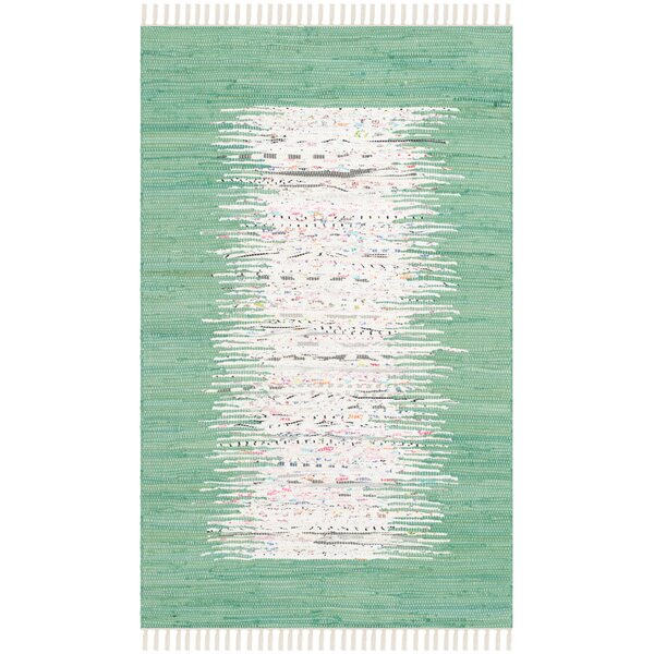 Milia Hand-Woven Ivory/Sea Green Area Rug by Bay Isle Home