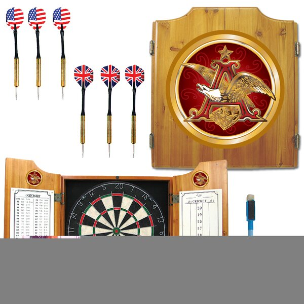 Anheuser Busch A & Eagle Dartboard Cabinet by Trademark Global