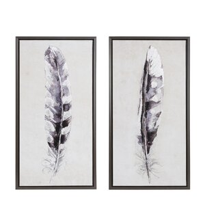 'Flight Feathers' 2 Piece Framed Graphic Art Print Set on Canvas by Ivy Bronx