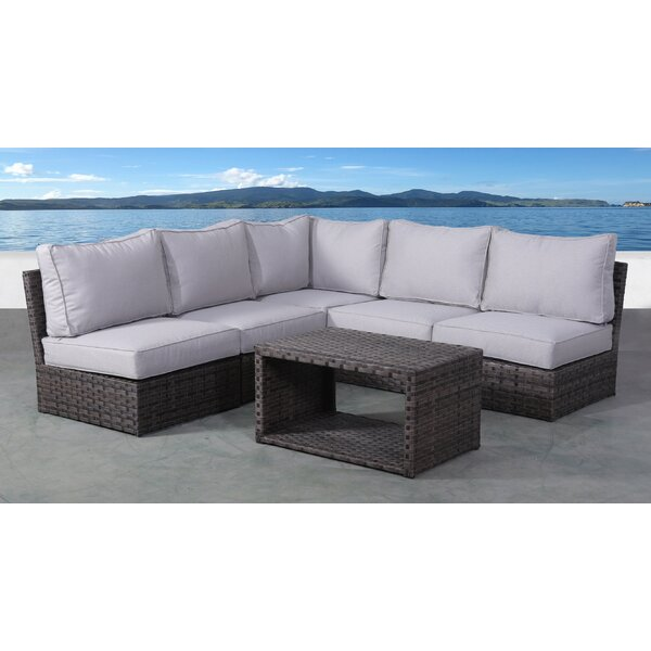 Cochran 6 Piece Rattan Sectional Seating Group with Cushions by Rosecliff Heights