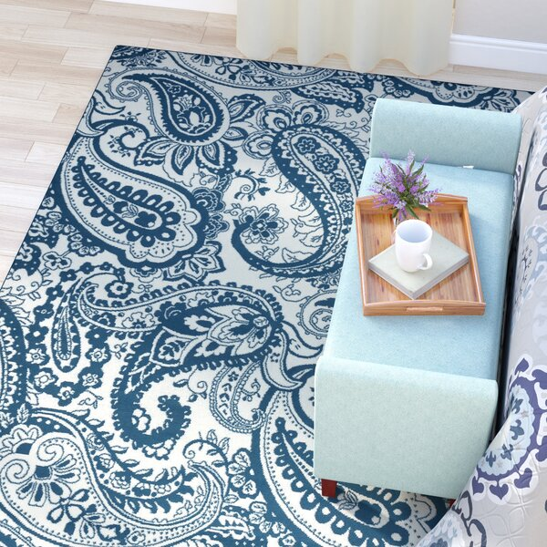 Pearl Ivory/Blue Indoor/Outdoor Area Rug by Andover Mills