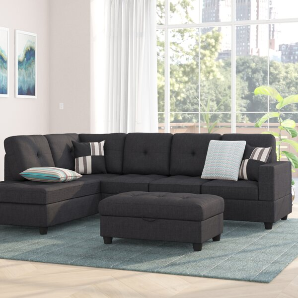 Mauzy Left Facing Sectional with Ottoman by Ebern Designs
