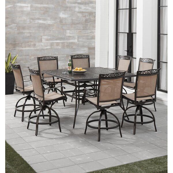 Bucher 9 Piece Counter Height Outdoor Dining Set by Fleur De Lis Living