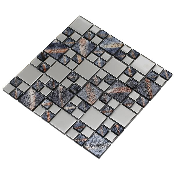 Rousha 12 x 12 Glass Mosaic Tile in Purple/Silver by Mirrella