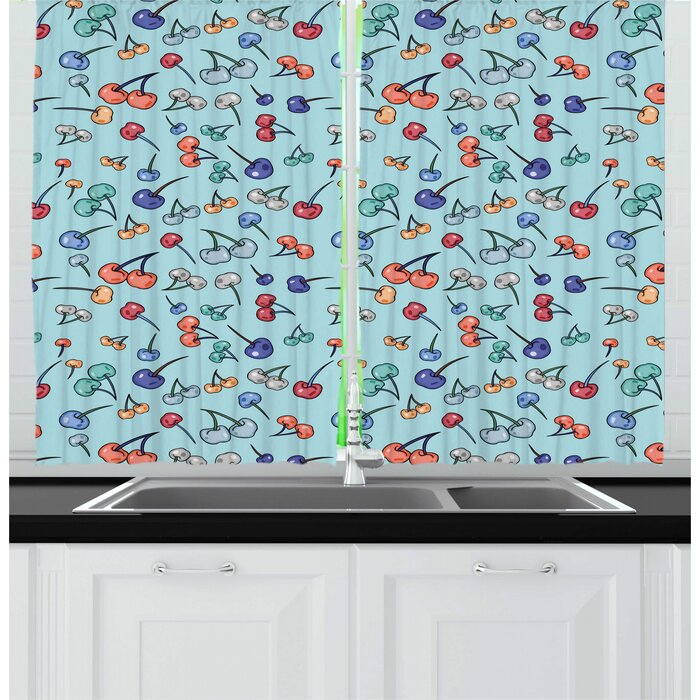 Cherry Repetitive Pattern of Summer Fruit in Abstract Colors in Cartoon Style Kitchen Curtain (Set of 2)