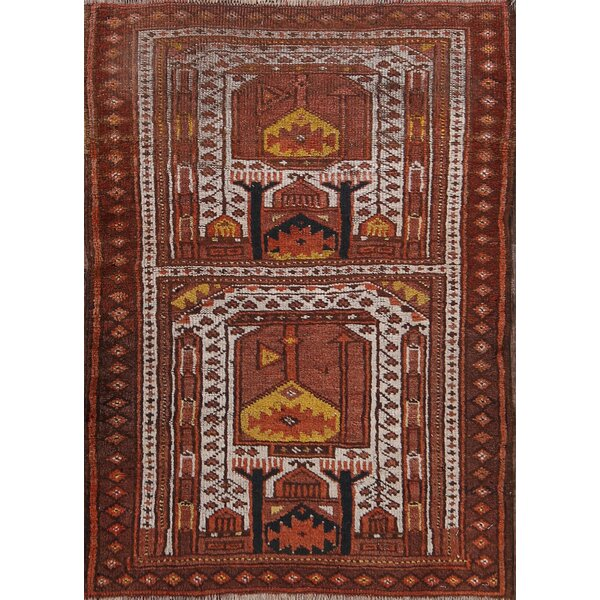 Stroup Balouch Afghan Oriental Hand-Knotted Wool Red/Burgundy Area Rug by Bloomsbury Market
