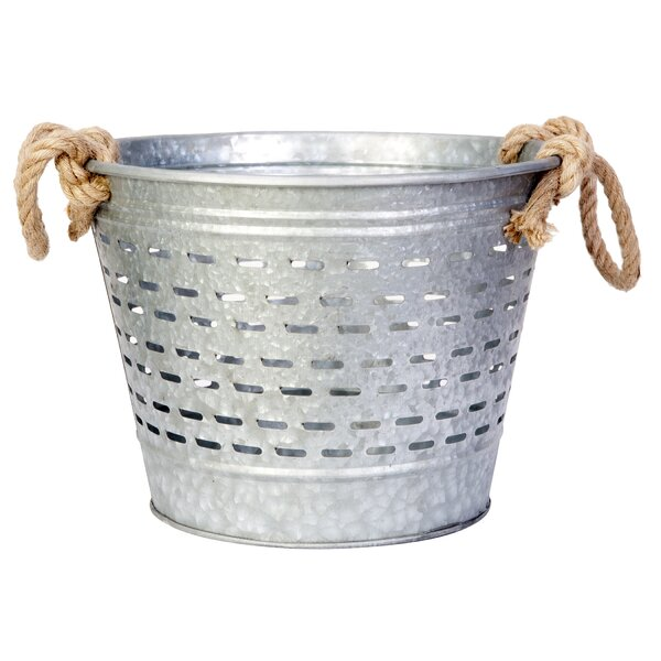 Leonie Bucket Metal Pot Planter with Rope Handle by Gracie Oaks