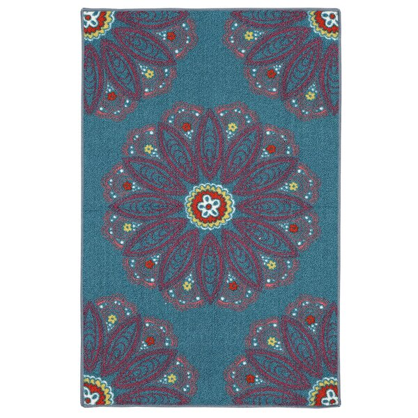 Kropf Teal Rug by Bungalow Rose