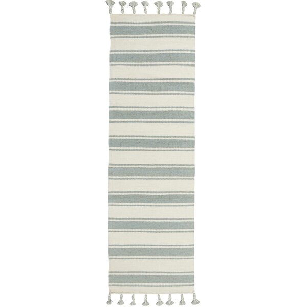 Baird Hand-Woven Ivory/Spa Area Rug by Breakwater Bay